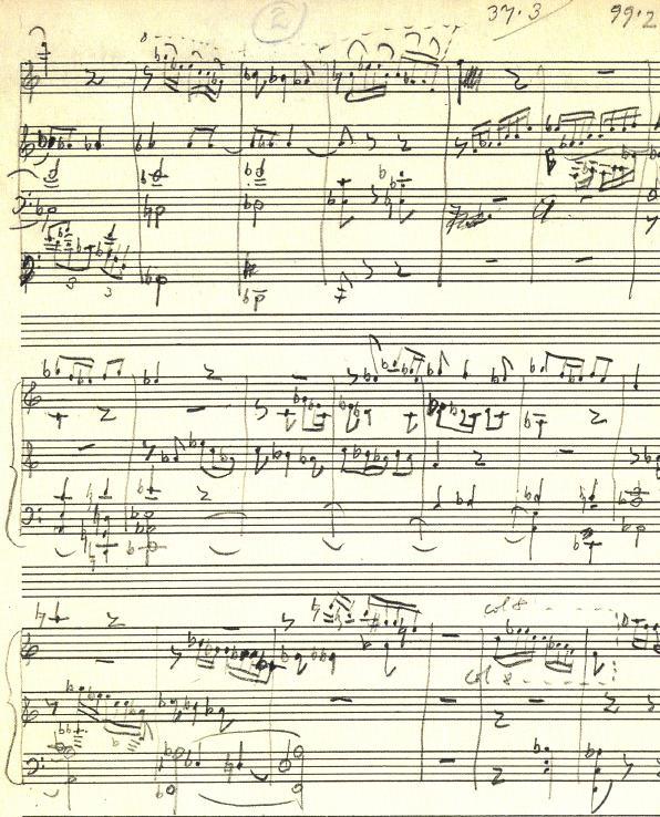 """Una de las páginas del manuscrito original del """"Concierto para viola"""", de Bartók"""