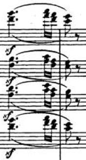 Motivo rítmico de la transición, Sinfonía Italiana (F. Mendelssohn)